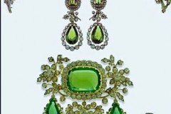 The Habsburg Parure- a four piece suite of peridot and diamond jewels by Köchert.