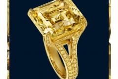 25.33 ct Flawless  Fancy Vivid Yellow Diamond Ring by Harry Winston