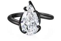 Modern Minimal Black Mounting with Pear Shape White Diamond