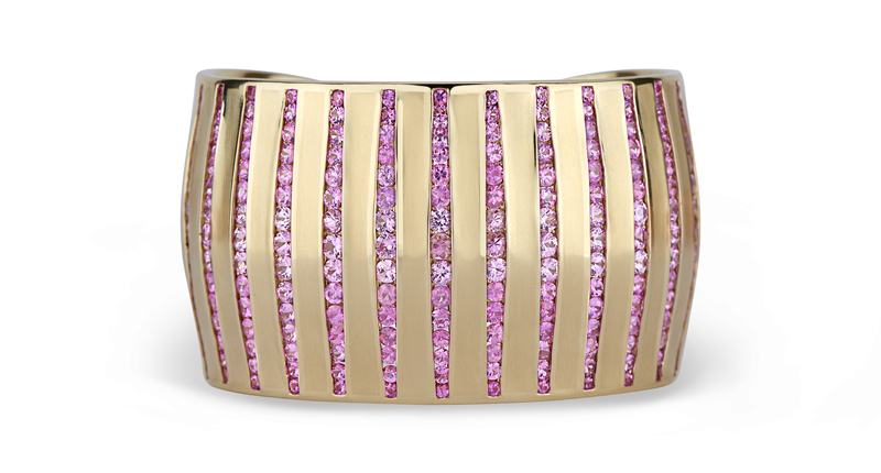 14K Pink Sapphire Cuff by Kendra Parisseault