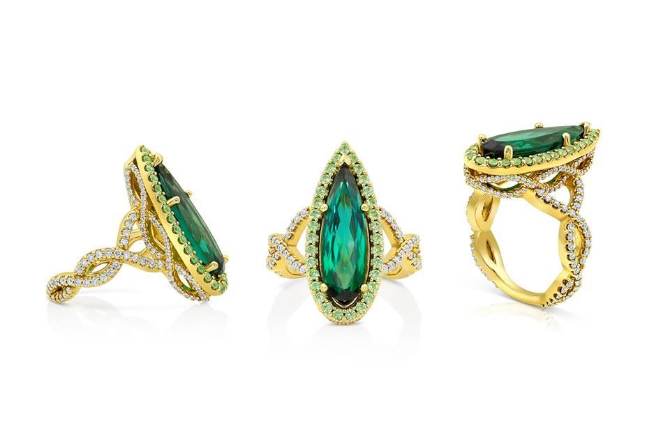 18k Diamond & Colored Stone Ring by Lauren Stuller