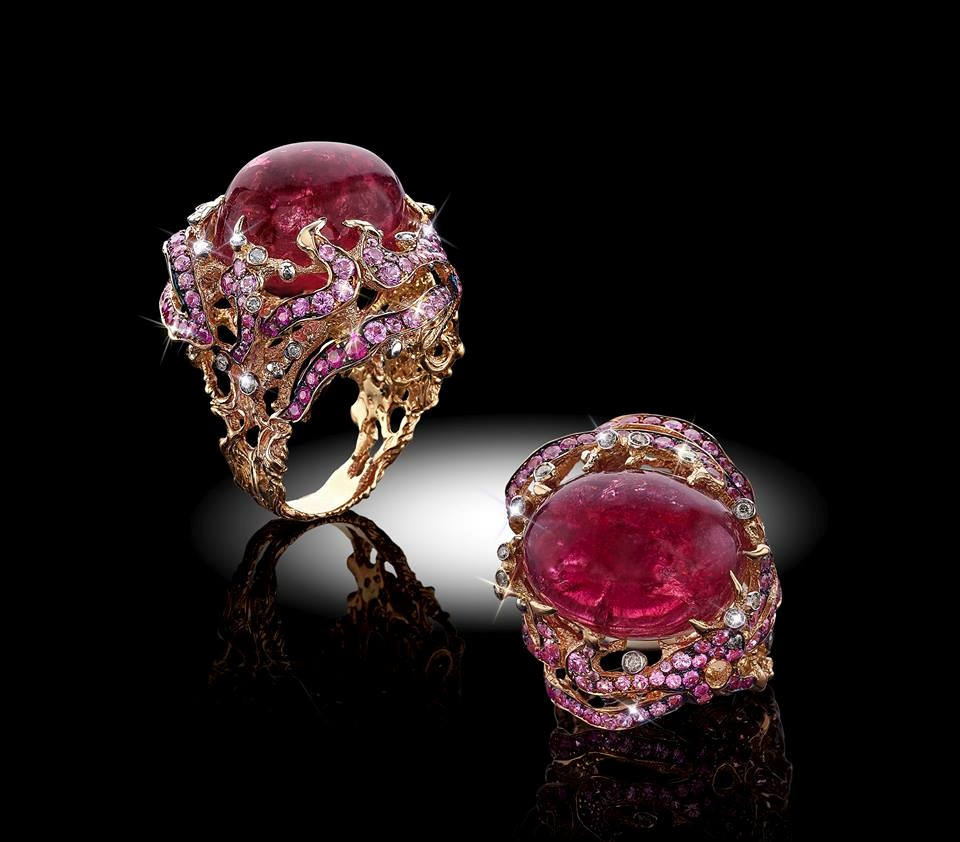 18kt Rose Gold W_Red Tourmaline Cab Pink Sapphires and Diamonds by Davide Maule