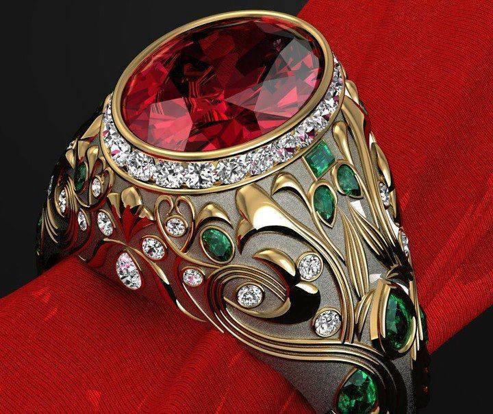 Mens Diamond & Ruby & Emerald Ring