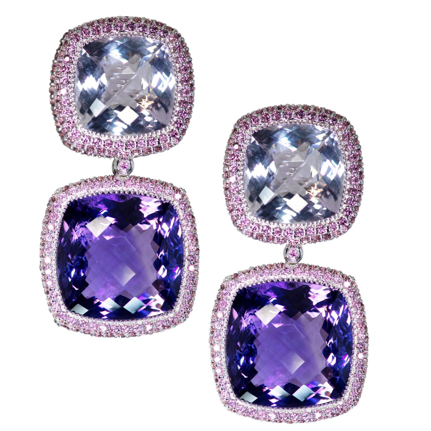 18K Amethyst and Pink Diamond Earrings