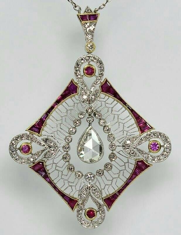 Antique (Edwardian Era) Platinum Diamond & Ruby Pendant