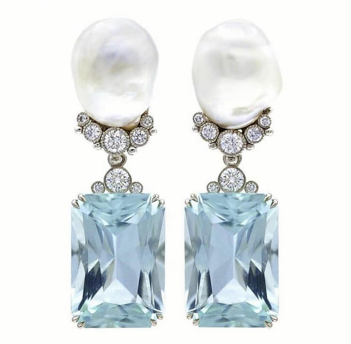 Aquamarine, Peral, Diamonds Earrings by Alex Blal