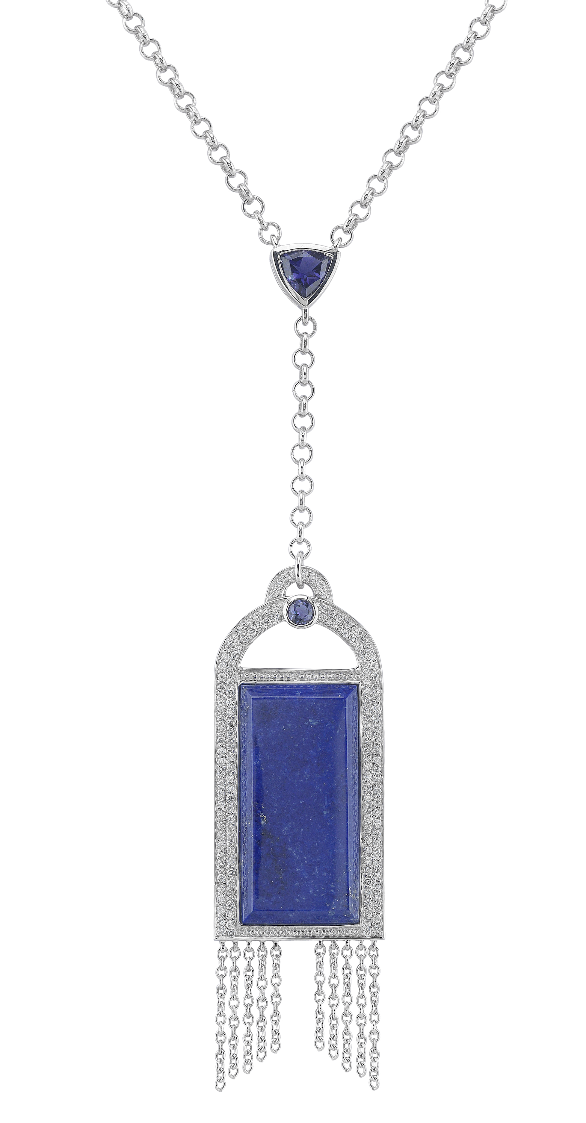 Badgley Mischka 18K Diamond & Lapis Necklace by Steven Zale