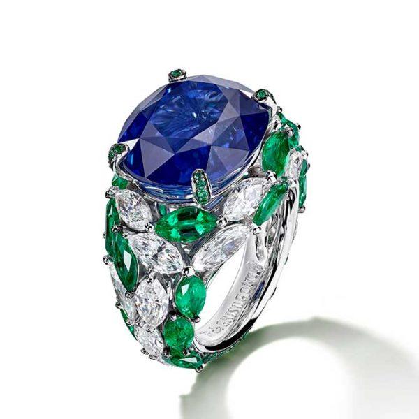 De-Grisogono-Sapphire& Emerald & Diamond Ring