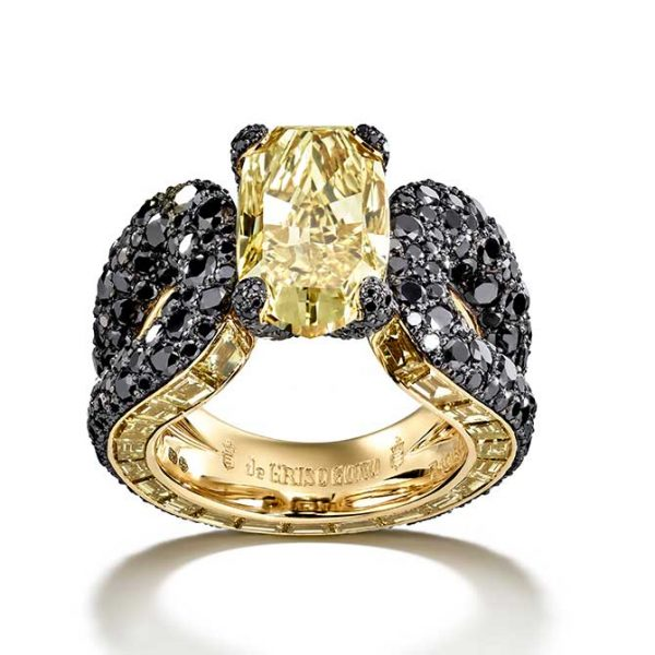 De-Grisogono-Yellow-Black Diamond-Ring