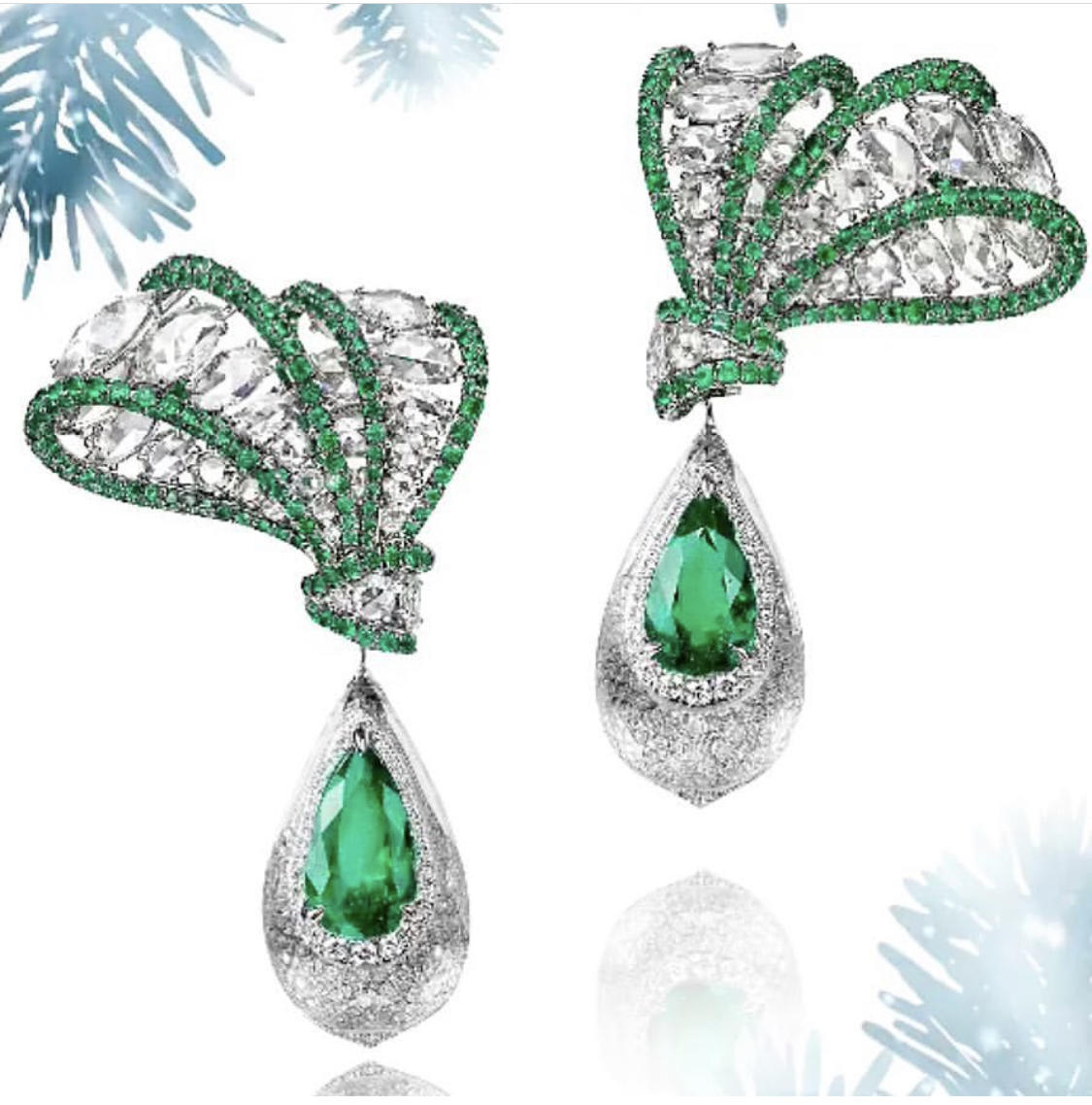 Diamond & Emerald Earrings by Alex Blal