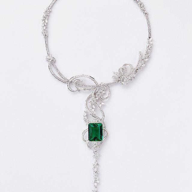 Diamond Emerald Necklace by Zahravi
