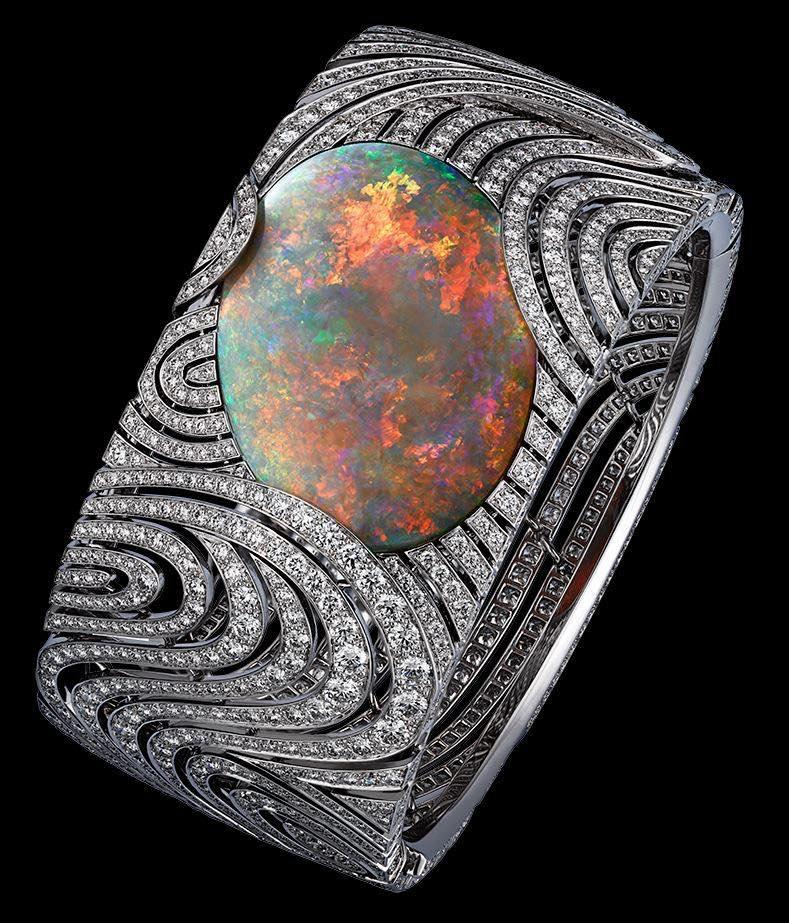 Diamond & Opal Bangle by Cartier