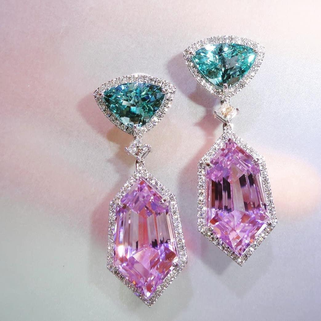 Diamond, Paraiba Tourmaline, & kunzite Earrings by Aamir Ali