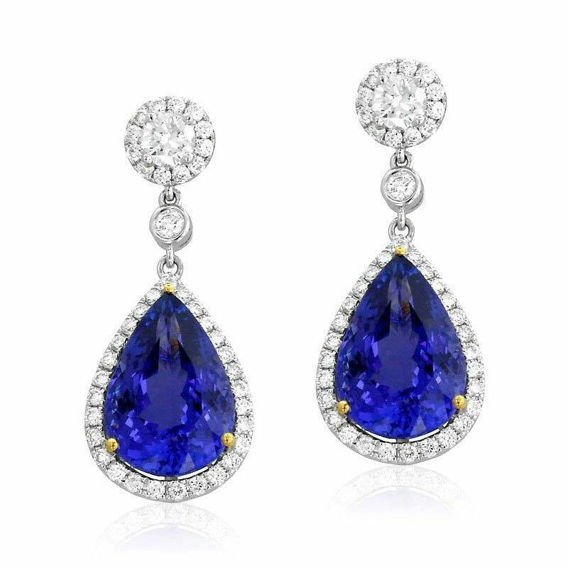 Tanzanite & Diamond Earrings 8.02 cts by Yael Designs