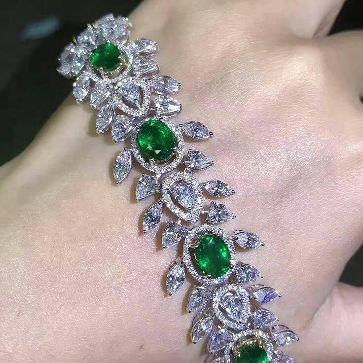 Emerald & Diamond Platinum Bracelet