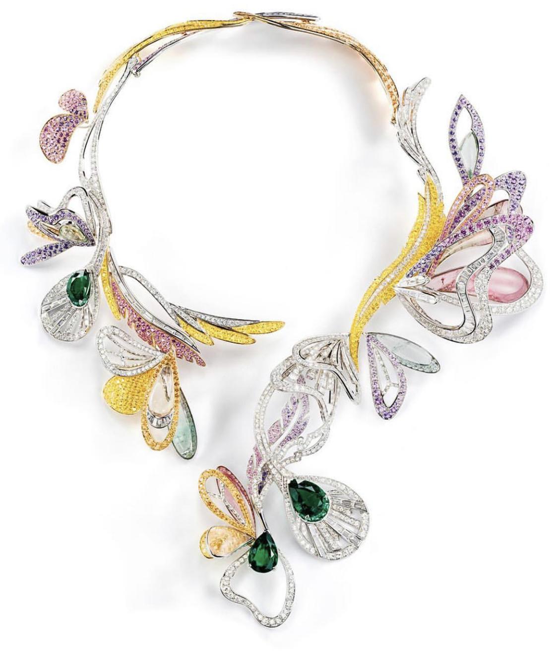 Emerald Diamond Leaf Neck Piece by Alex Blal