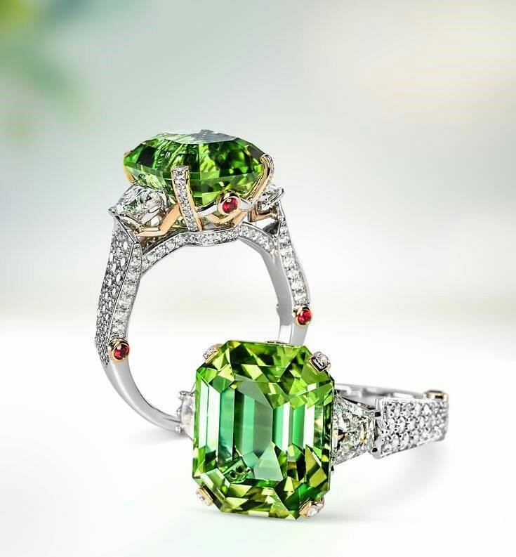 Mint Green Tourmaline Diamond Ring (2)
