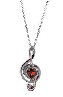 Platinum, Diamond & Ruby Musical Treble Clef Pendant by Steven Zale
