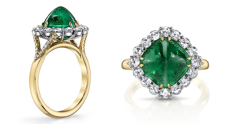 Omi Sugarloaf Cabochon Emerald & Diamond Ring