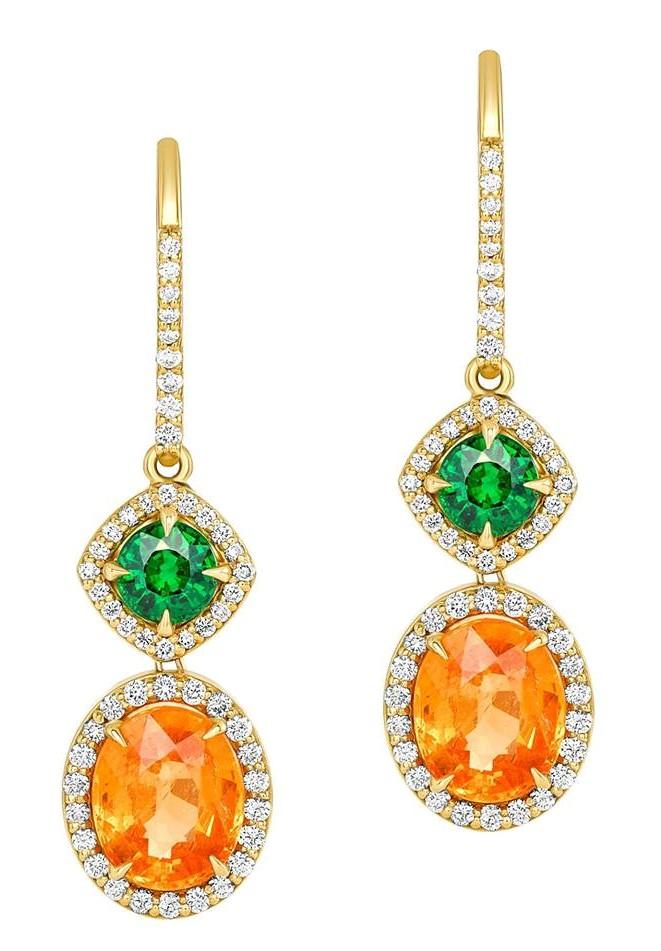 Spessartite, Tsavorite, & Diamond Earrings by AG (2)