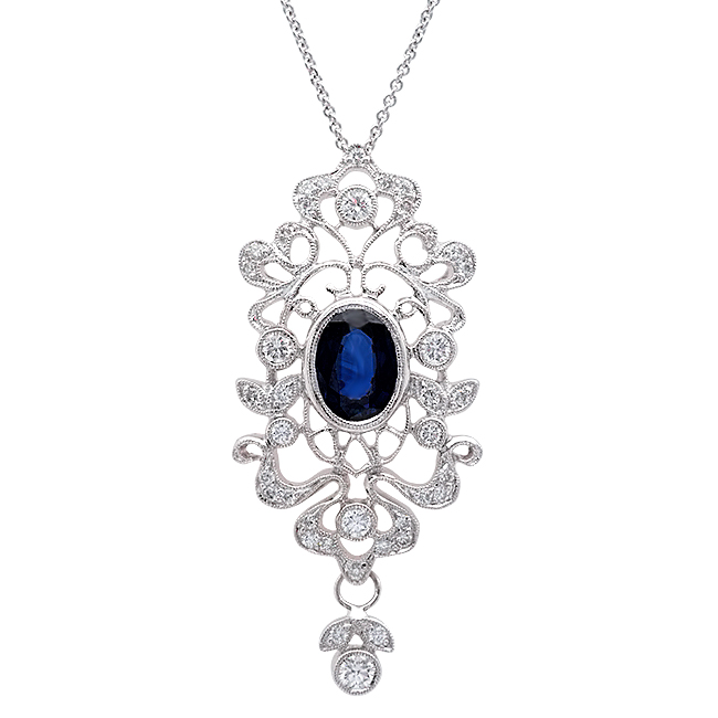 Zale Diamond and Blue Saph. Pendant