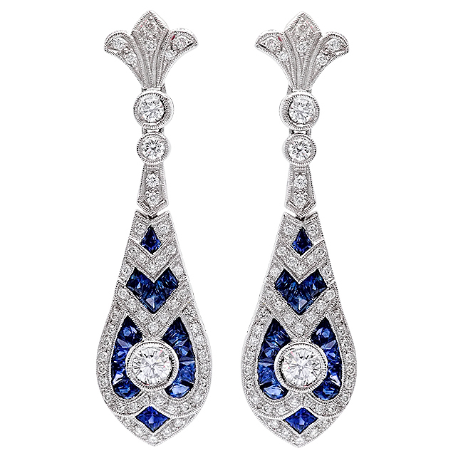 Zale Drop Diamond Blue Saph Earrings