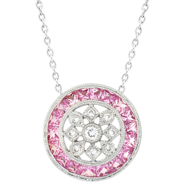 Zale Pink and White Diamond Circle Pendant