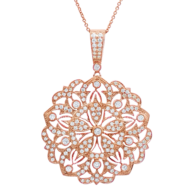 Zale Rose Gold and Dia Round Pendant Large