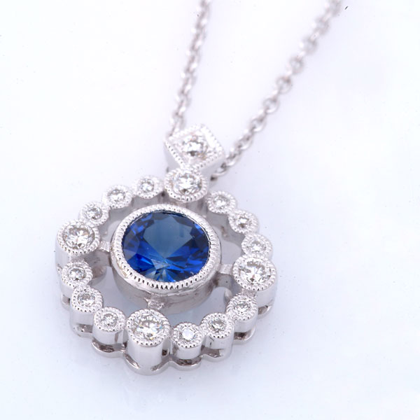 Zale Round Blue Saph. Diamond Pendant Small