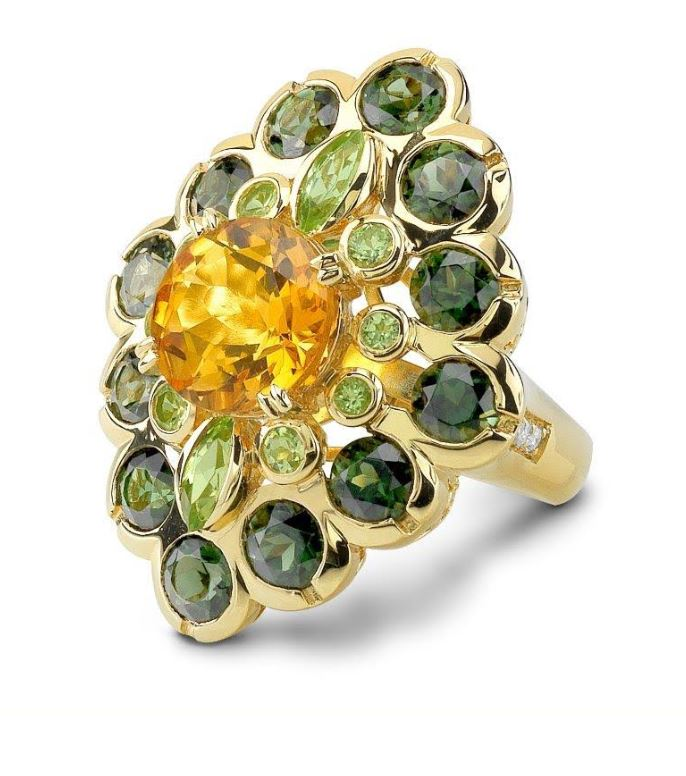Green Tour. & Citrine Demeter 18K Ring