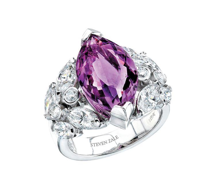 African Amethyst Gem Quality Diamond Ring by Zale