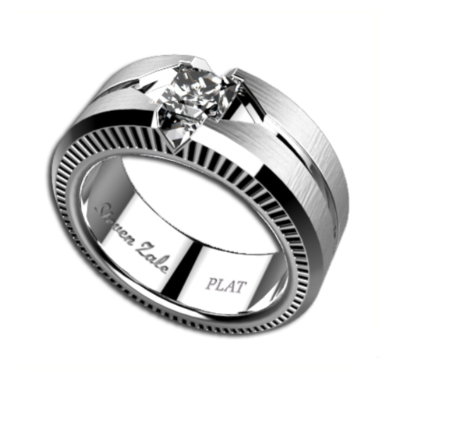 Mens 1ct Diamond Platinum Wedding Band