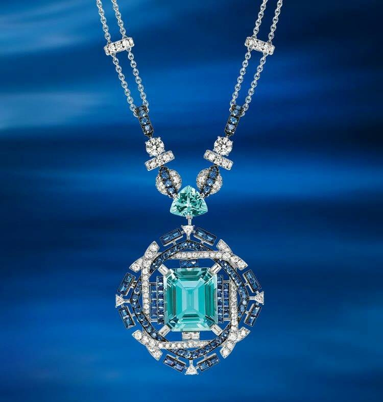 A Magnificent Aquamarine, Sapphire and Diamond Necklace by Chaumet