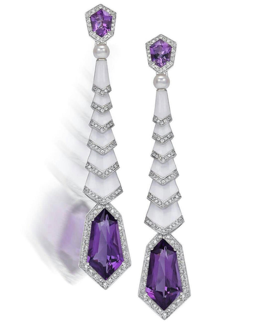 Amethyst Pearl & 18K Diamond Earrings