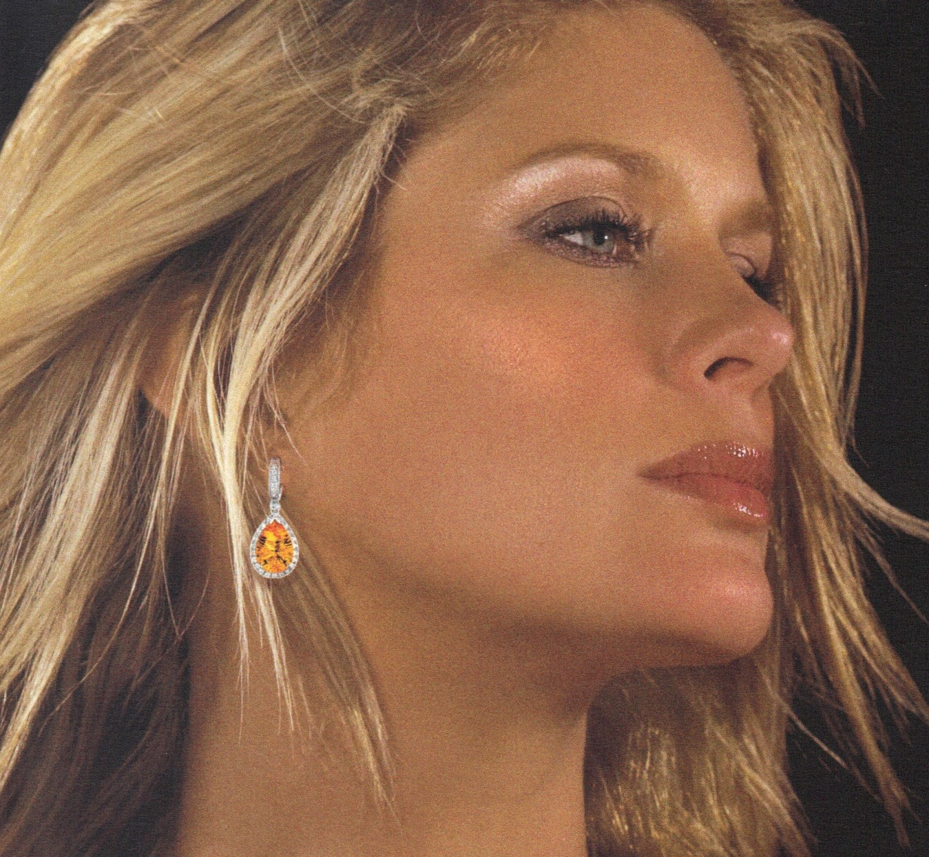 Demeter Brand 18K Madeira Gem Quality Special Cut Citrine & Diamond Earrings