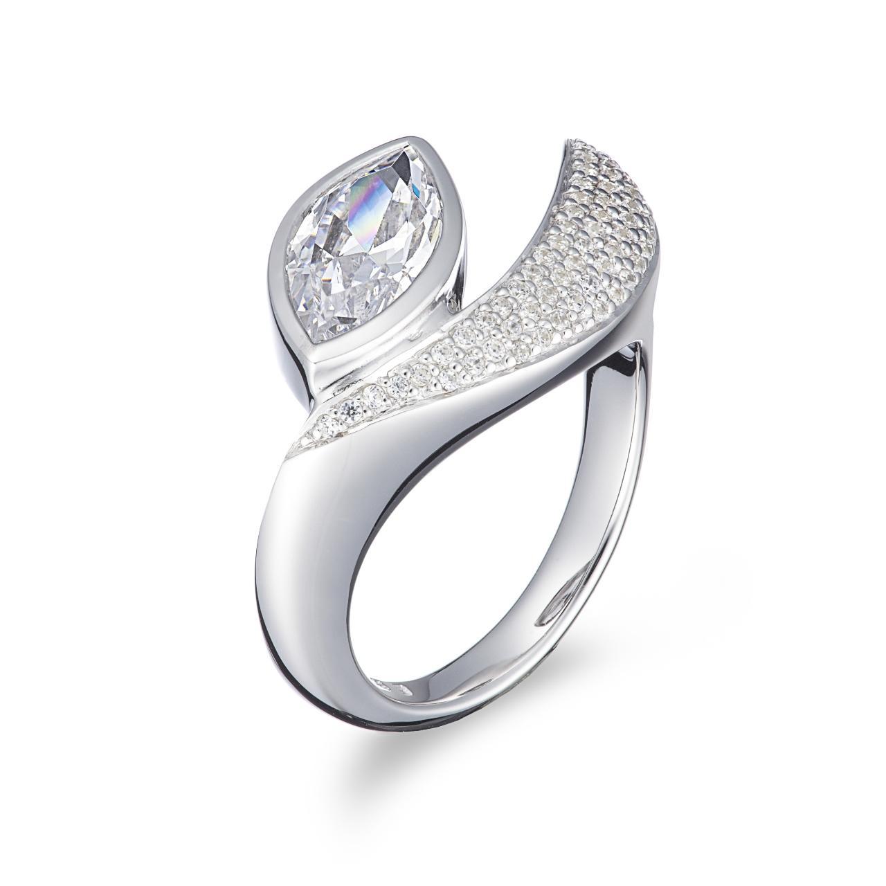 18K Modern Marq. Cut Diamond Ring