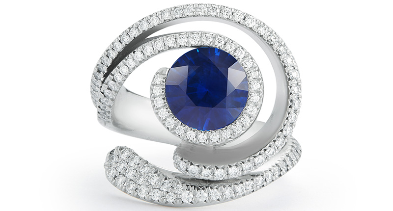18K Diamond & Sapphire Evil Eye Ring by Diana Vincent
