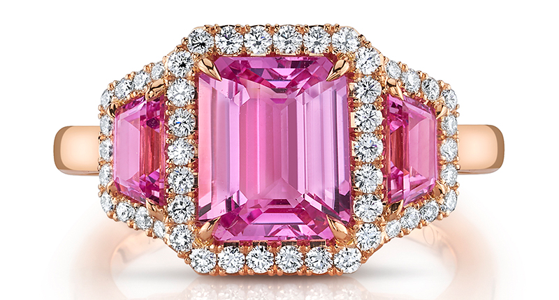 18-Karat Rose Gold and Pink Sapphires & Diamonds Ring from Omi Privé