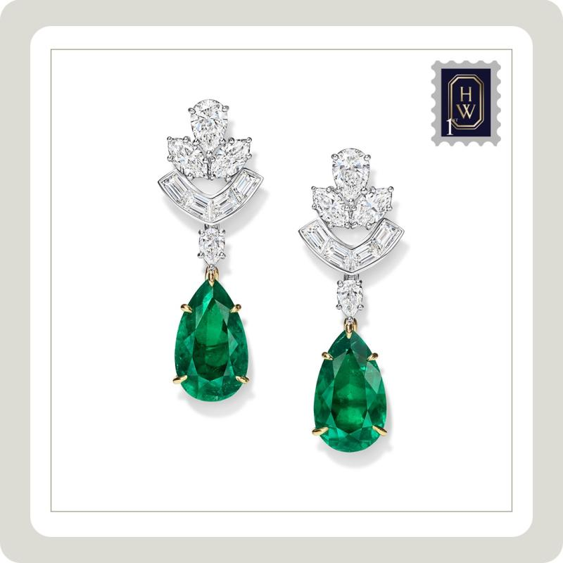 Harry Winston Diamond and Emerald Earrings