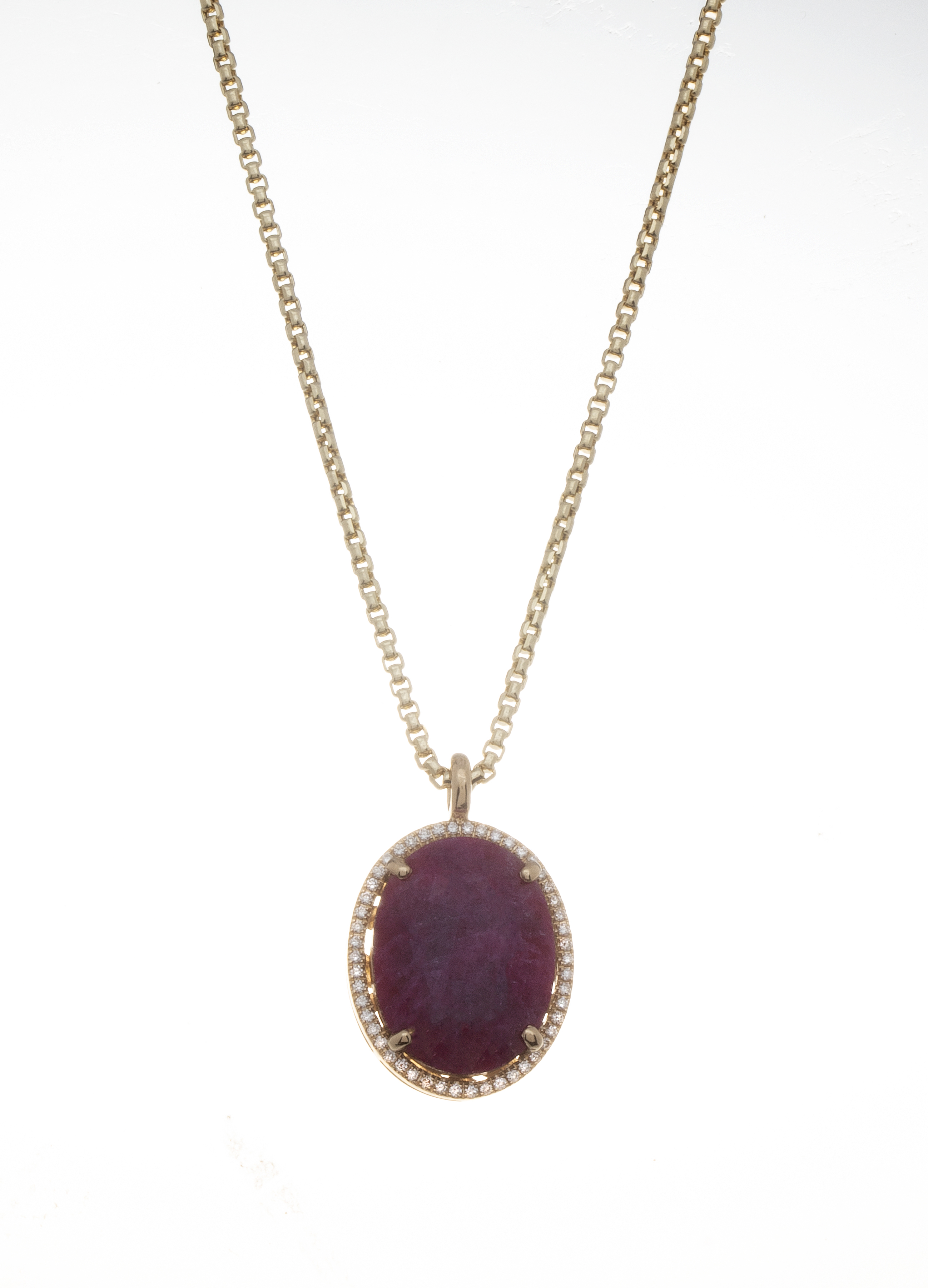 Natural Oval Ruby Classic Pendant by Steven Zale
