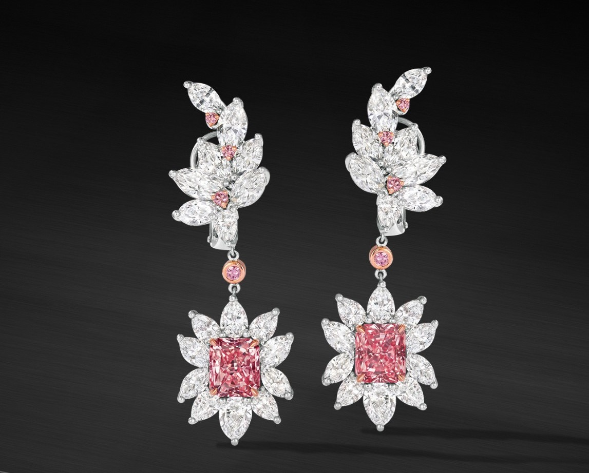 Fancy Pink Diamond Earrings (2)