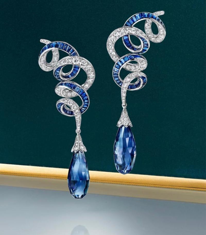 18K Briolette Sapphire Diamond Earrings