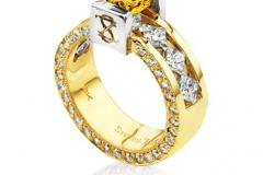 Signature Fancy Vivid Yellow & White Diamond Ring by Steven Zale