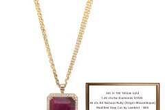 46ct Ladies All Natural Ruby & Diamond Pendant Ruby Pendant 1.20cts/tw diamonds D/VVS Double Strand 14K Italian Chain