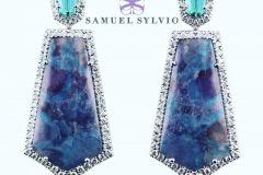 Tourmaline Blue, pink, and Paraiba Matrix Earrings by Samuel Sylvio